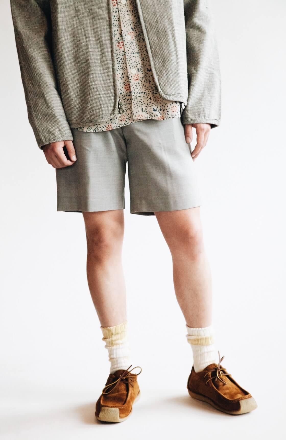 Collarless Jacket from Corridor, Natural Handblock Floral shirt from Corridor, Pavel Trouser Shorts from Harmony and Yuks Type 3 chukkas from Yuketen on body