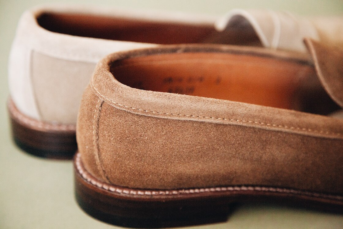 alden penny loafers in brown and tan suede