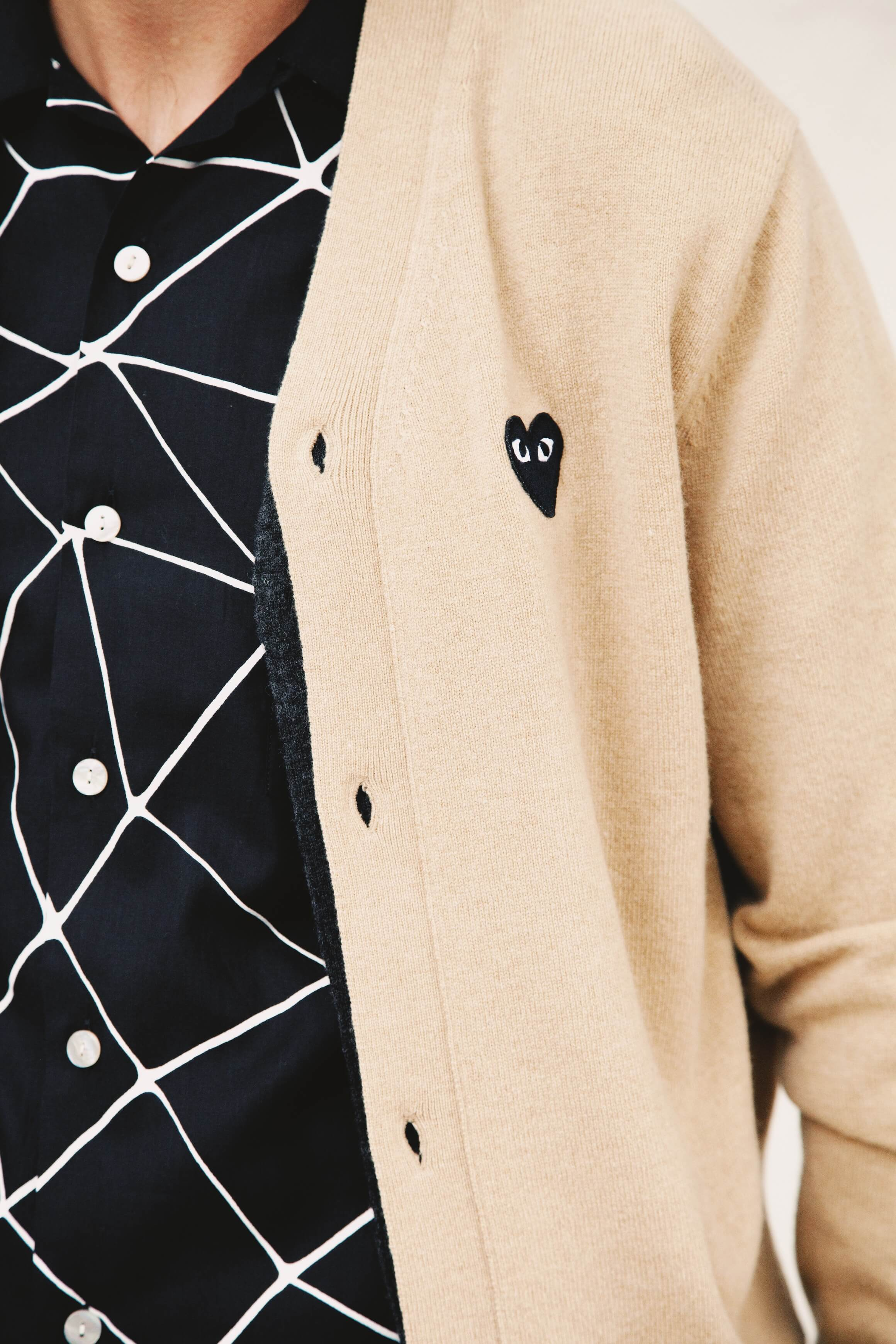 comme des garcons play black heart cardigan, levis vintage clothing web shirt on body