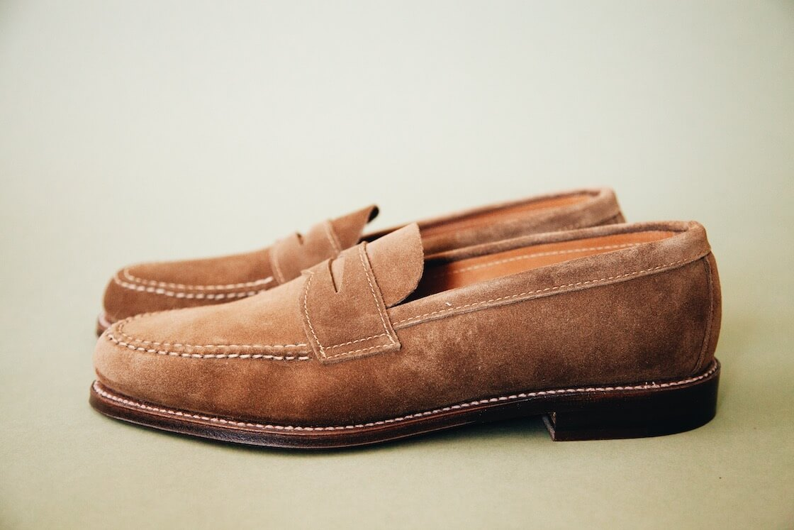 alden penny loafers in brown suede