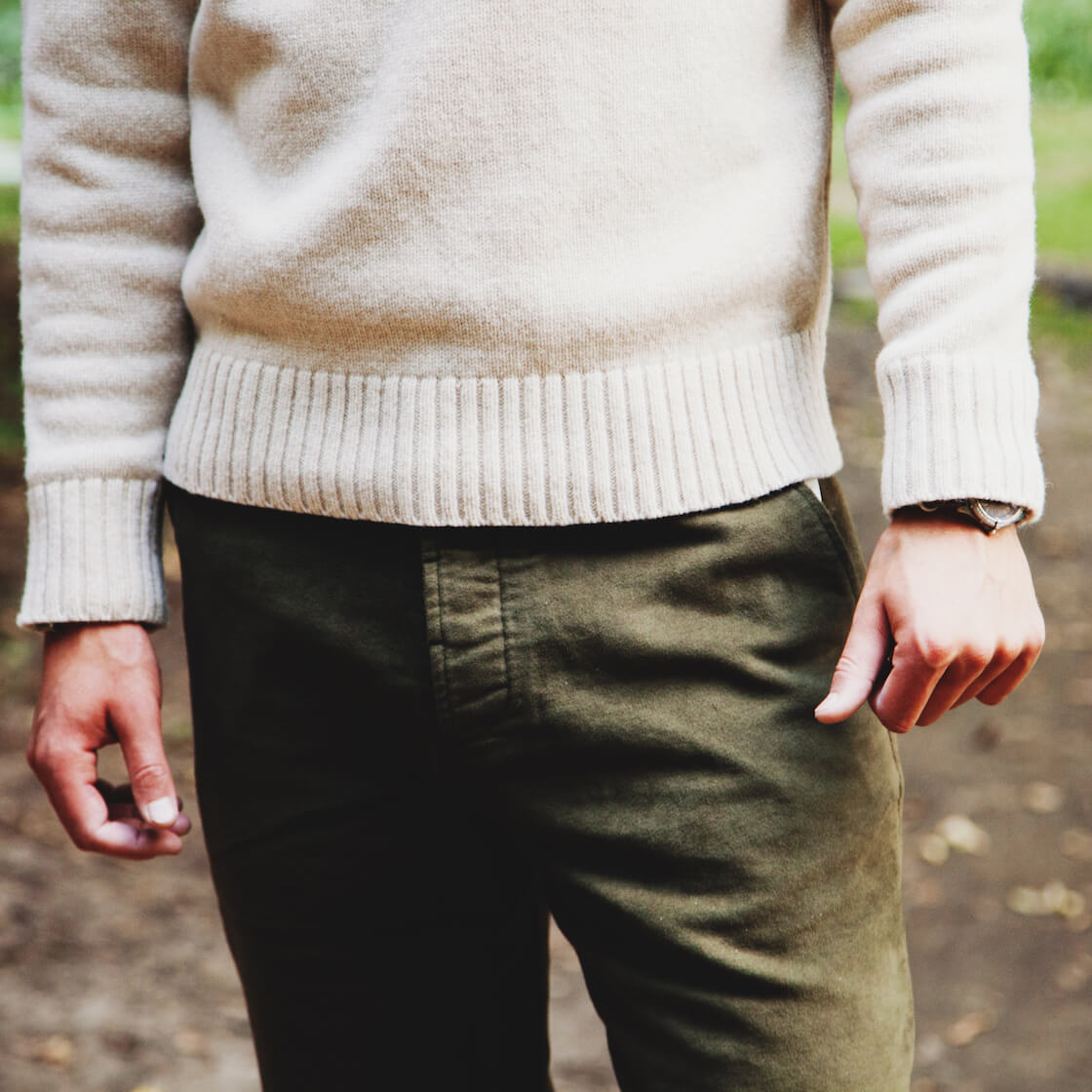 Universal Works chest stripe crew sweater and military chino on body