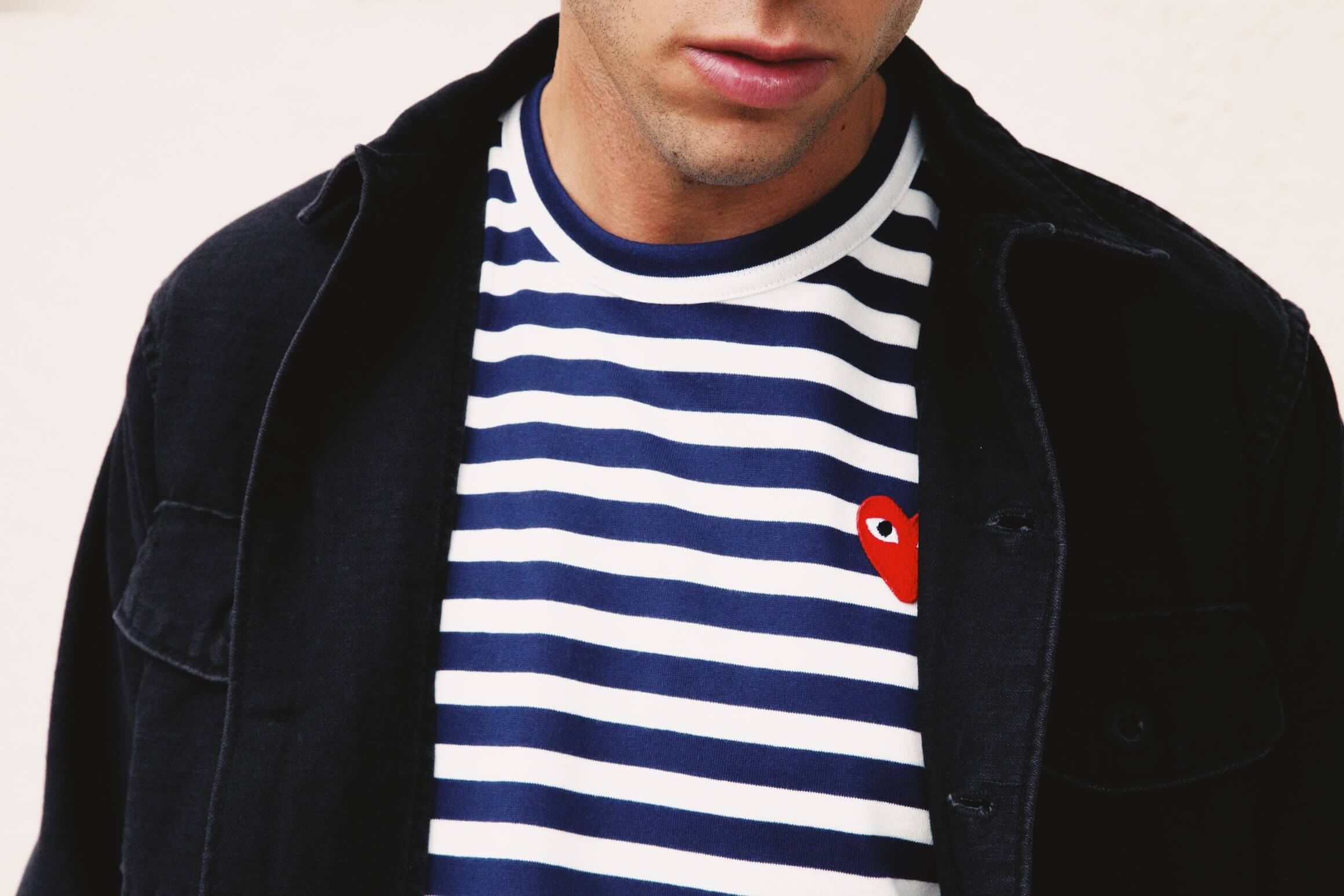 orslow u.s. army shirt, comme des garcons play red heart striped t-shirt on body