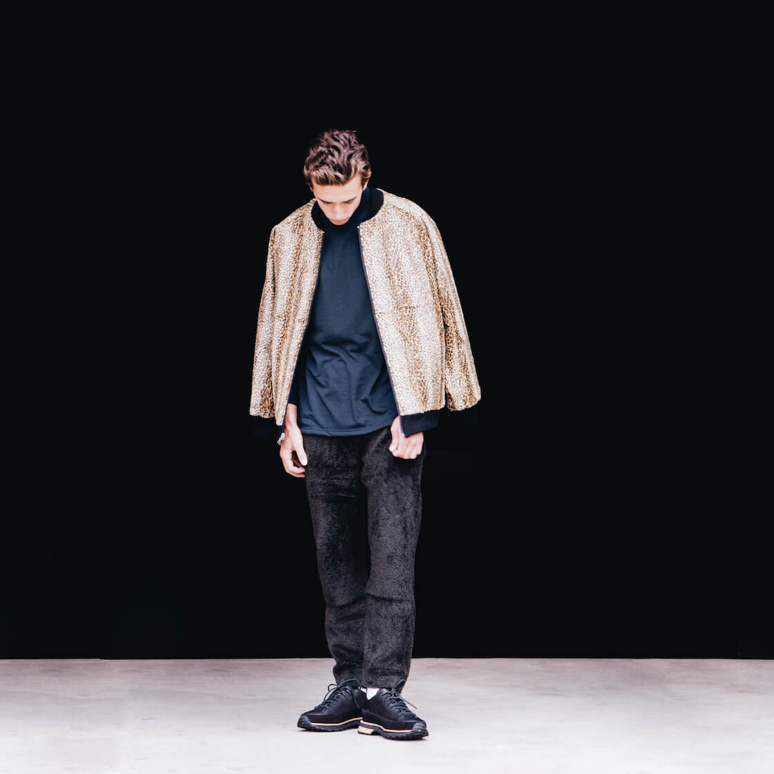 Needles clothing japan long sleeve mock neck tee and reversible rib collar jacket and lewis pant on body