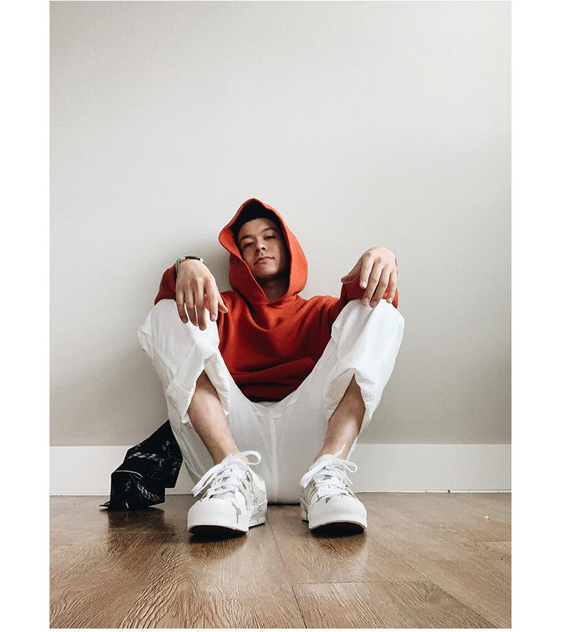 visvim amplus hoodie, kapital sneak anchor bandana, orslow painter pants and needles japan asymmetric ghillie sneakers on body