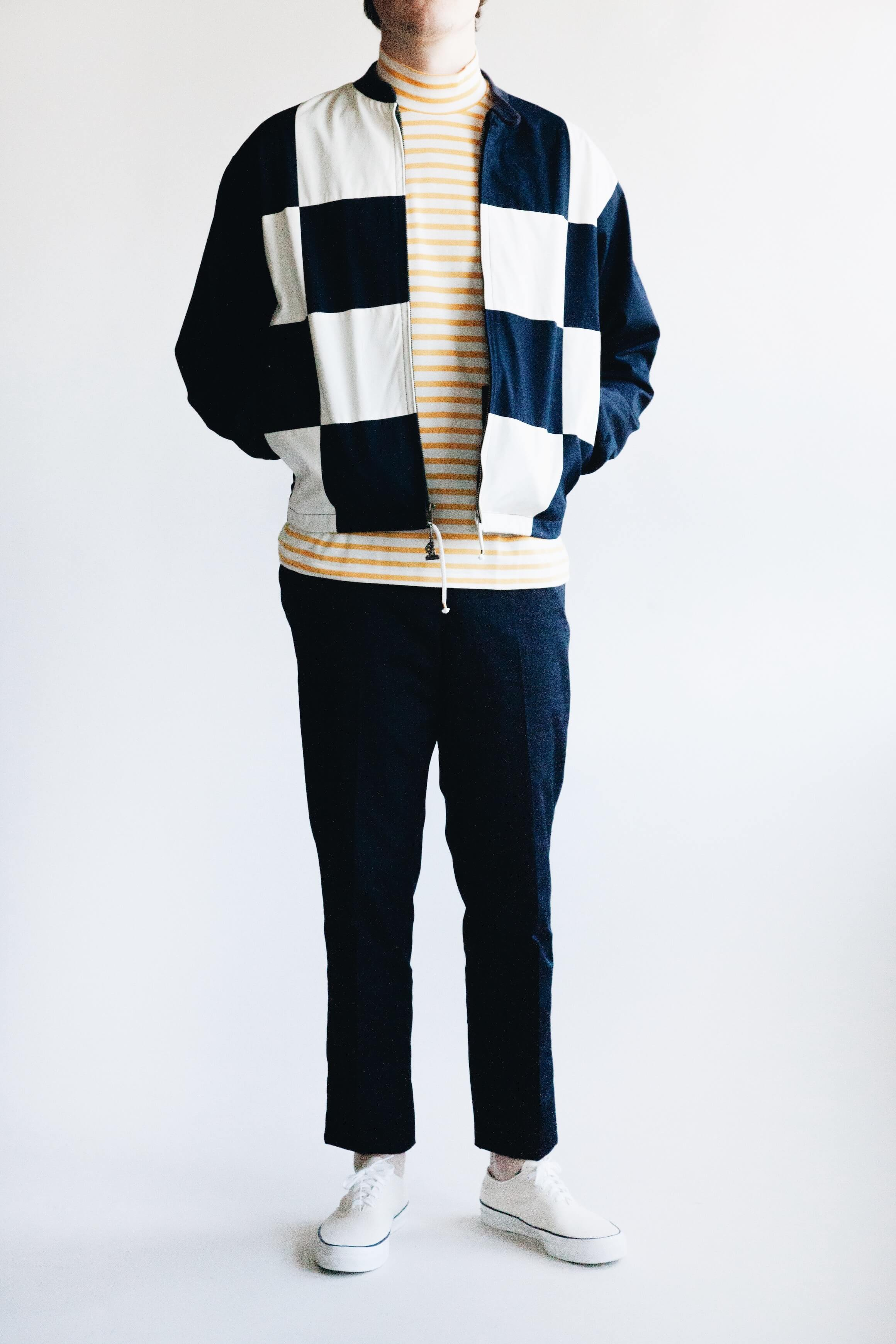 mighty mac boat jacket, anatomica ss mock neck tee, anatomica trim fit pant and wakouwa wak deck shoe on body