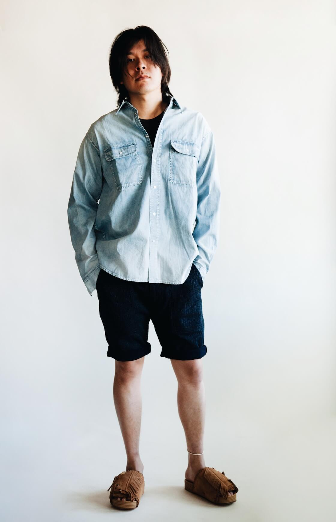 visvim ss handyman shirt, knickerbocker tube knit tee, pure blue japan selvedge sashiko denim utility shorts and visvim christo sandals on body