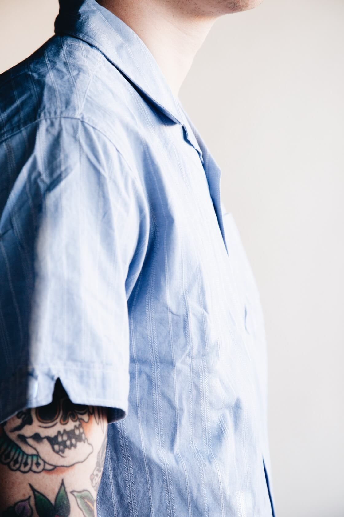 engineered garments camp shirt on body