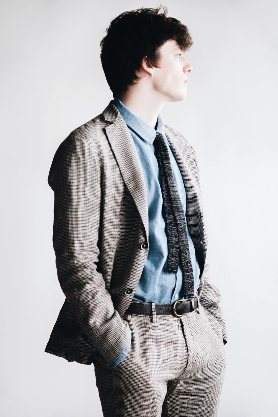 barena borgo jacket, canoe club x corridor blue chambray shirt, barena rionero trousers, and beams plus knit tie on body