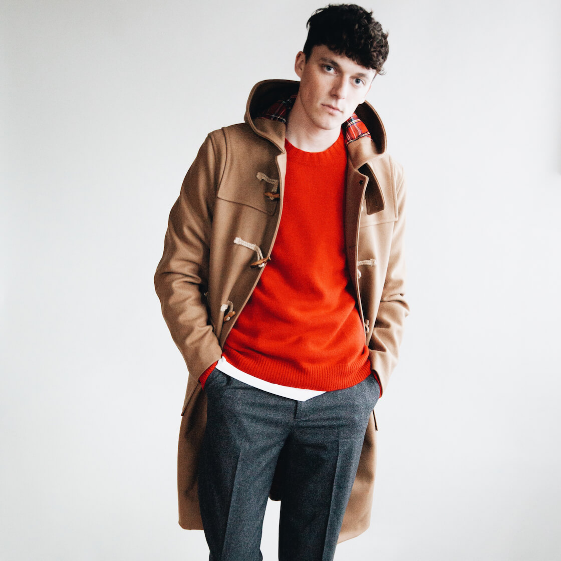harmony paris marco duffel coat and kenny sweater on body 3
