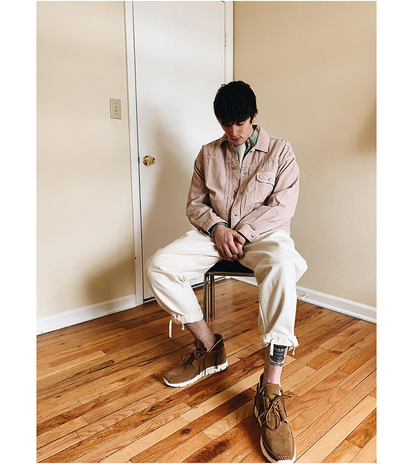 remi relief light summer corduroy first jacket, RRL slim plain twill western shirt, lady white co raglan thermal shirt, engineered garments painter pant and visvim ute moc trainer on body