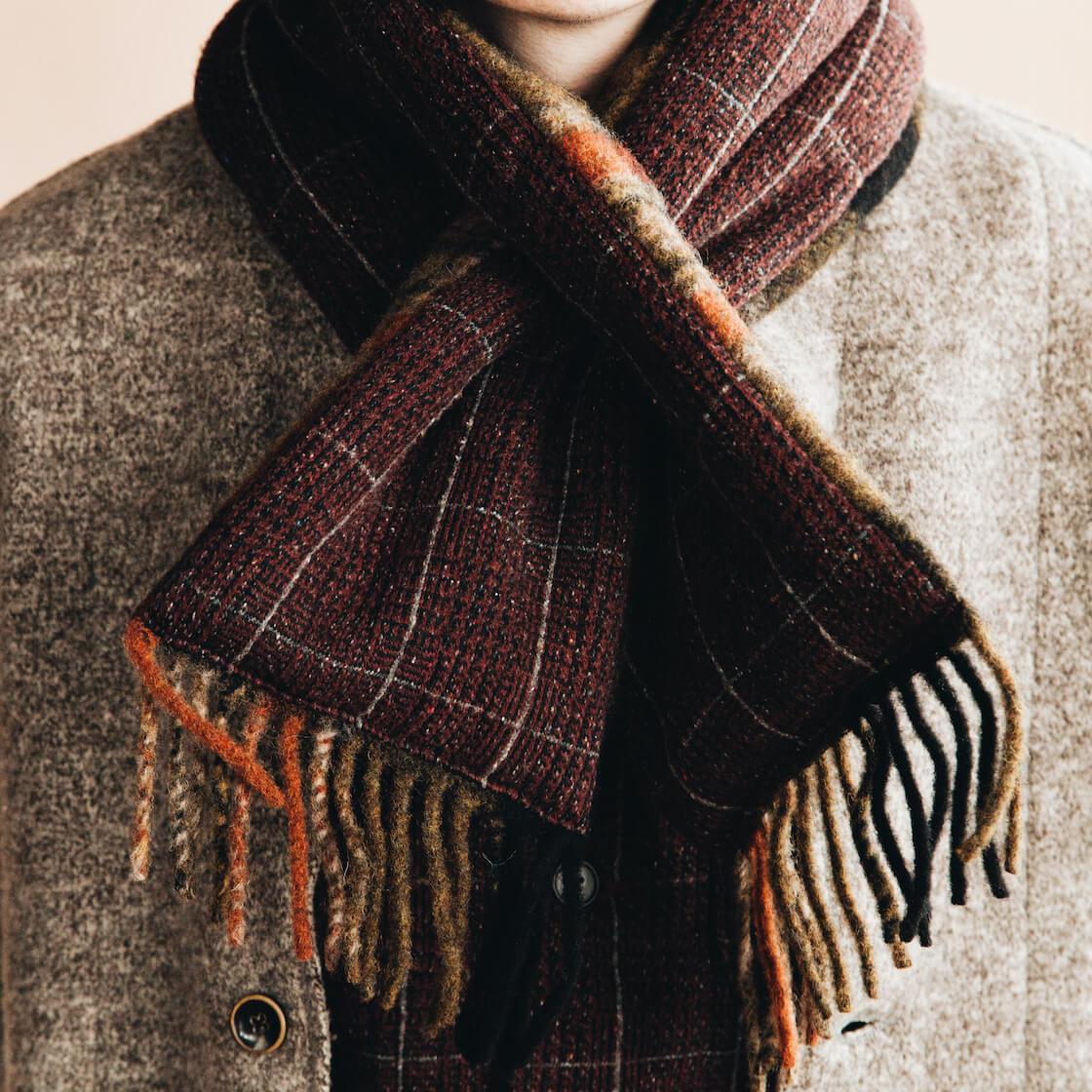 kapital tyrol wool nomad jacket, tweed fleecy knit kobe jacket, and country wool scarf on body