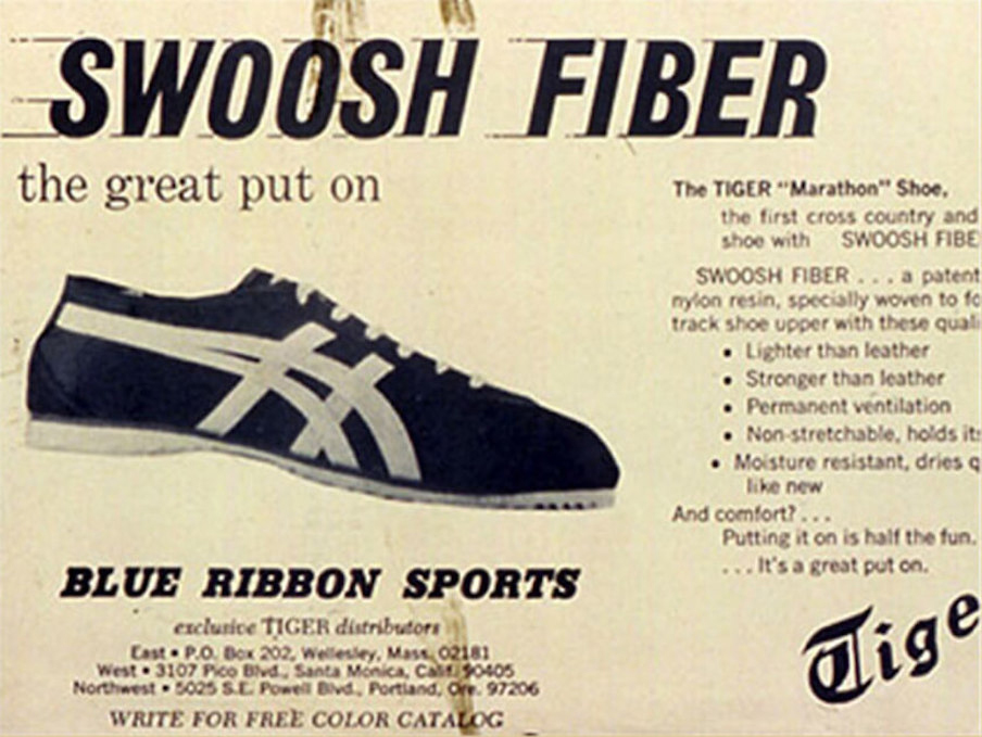 "Blue Ribbon Sports/Nike advertisement for the ""new"" Tiger Cortez shoes"