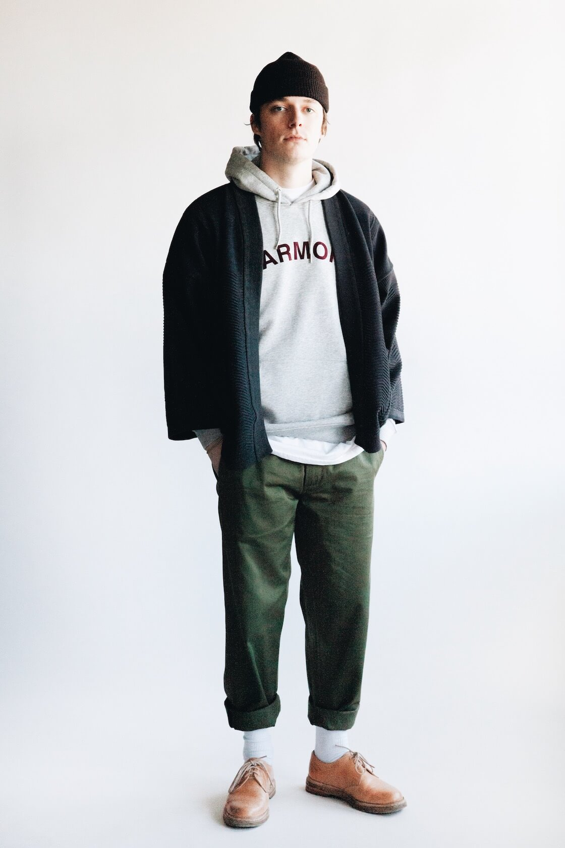 Shunto Hanten Knit from Yashiki, Sany Velour Sweatshirt from Harmony, Military Chinos from Universal Works and MIP-21's from Hender Scheme on body