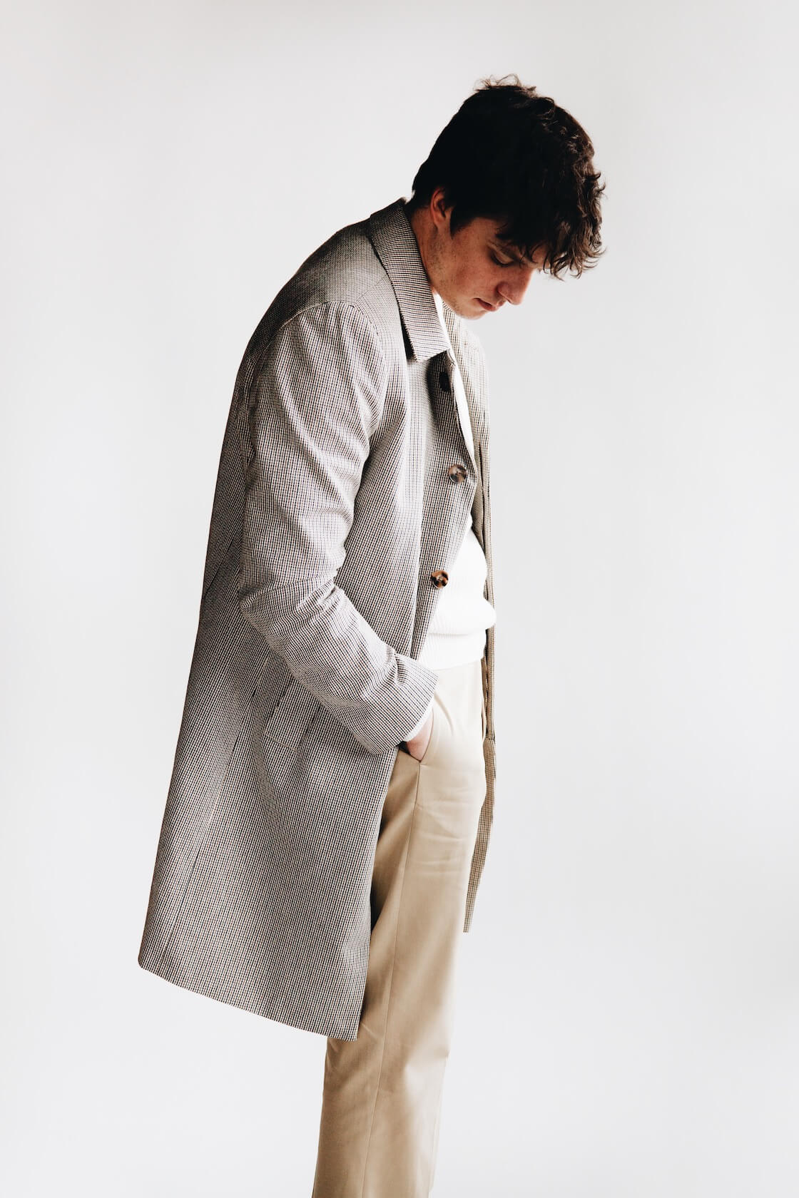 harmony paris maximus coat, wade sweater, and patrizio trousers on body