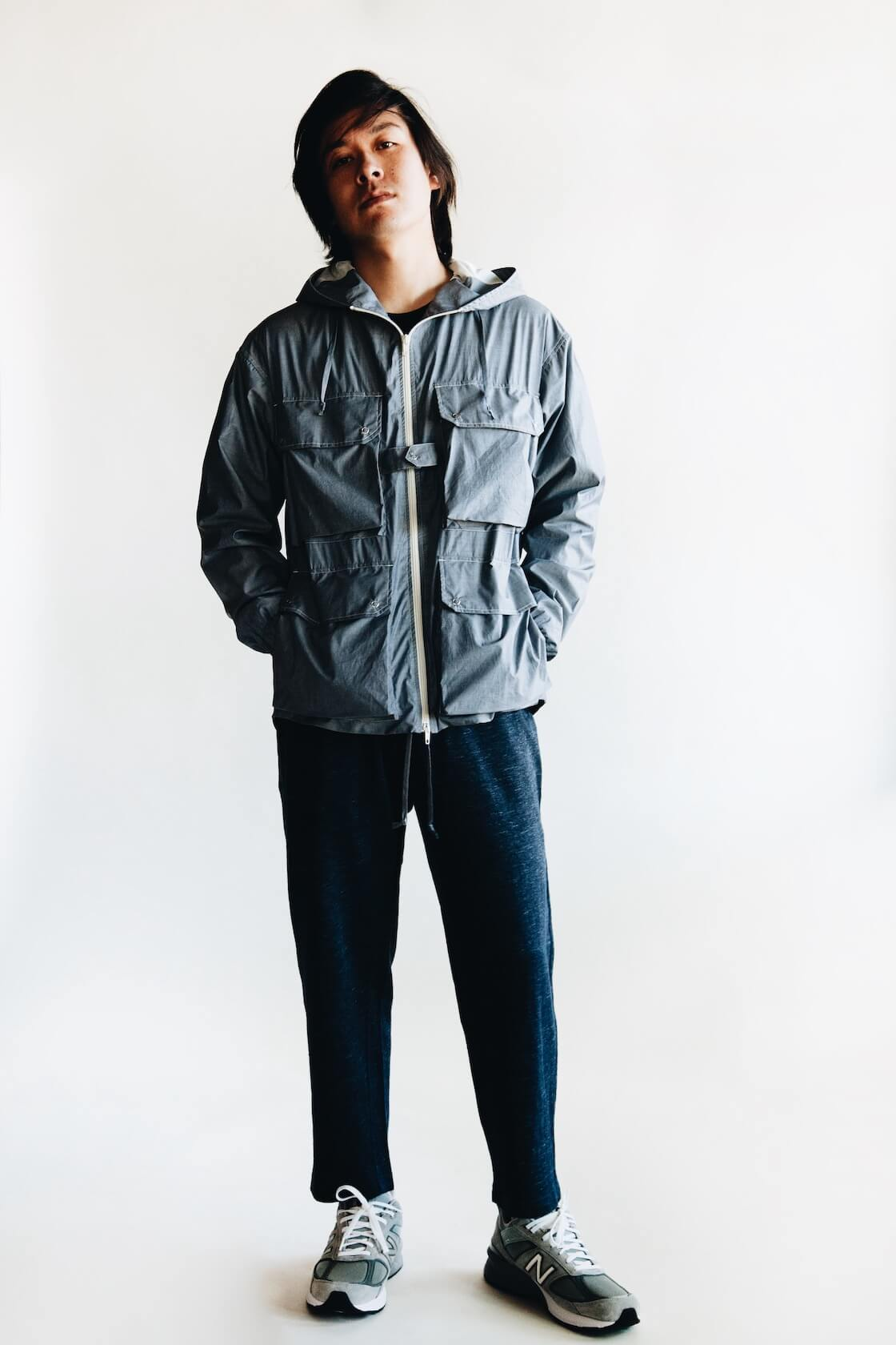 arpenteur reporter jacket, knickerbocker tube knit tee, engineered garments leisure pants and new balance M990GL5 shoes on body