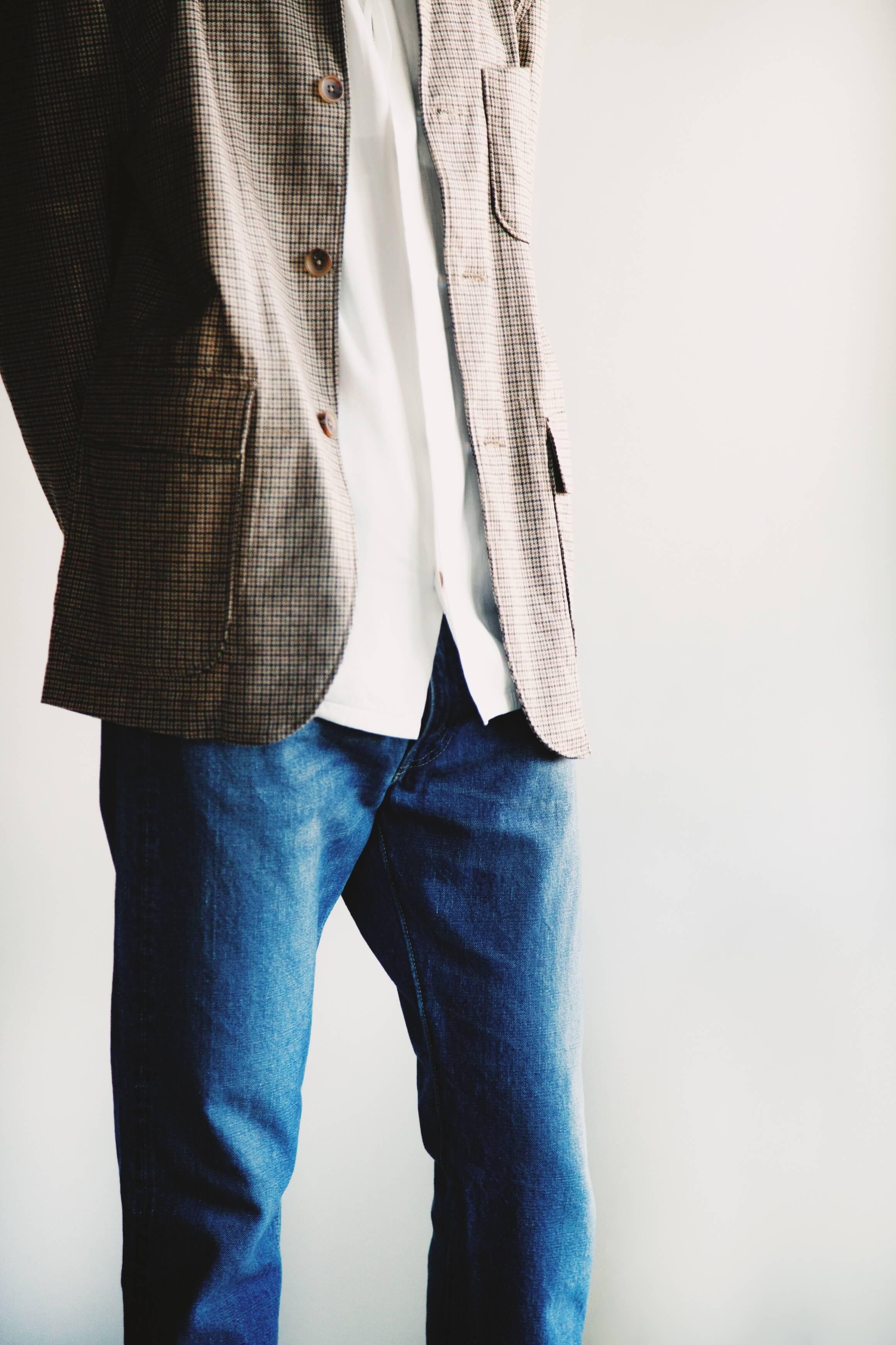 Engineered garments loiter jacket, visvim free edge shirt, orslow 105 standard denim on body
