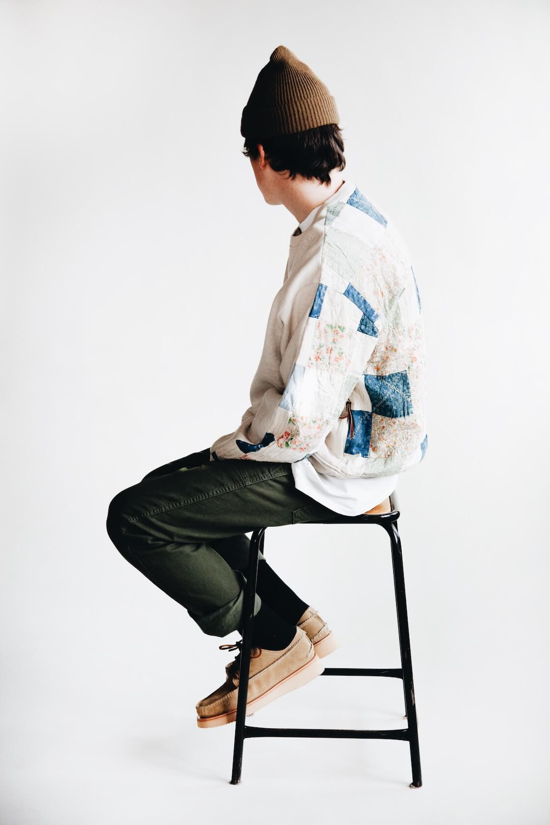 kapital kountry fleecy knit x american quilt country 2 tones big sweatshirt and pure blue japan military pants on body