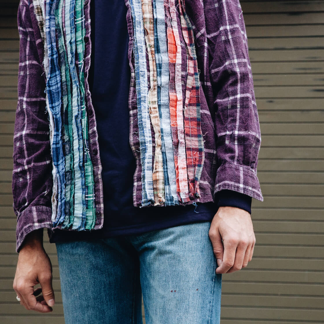 Needles clothing japan ribbon flannel shirt on body 2