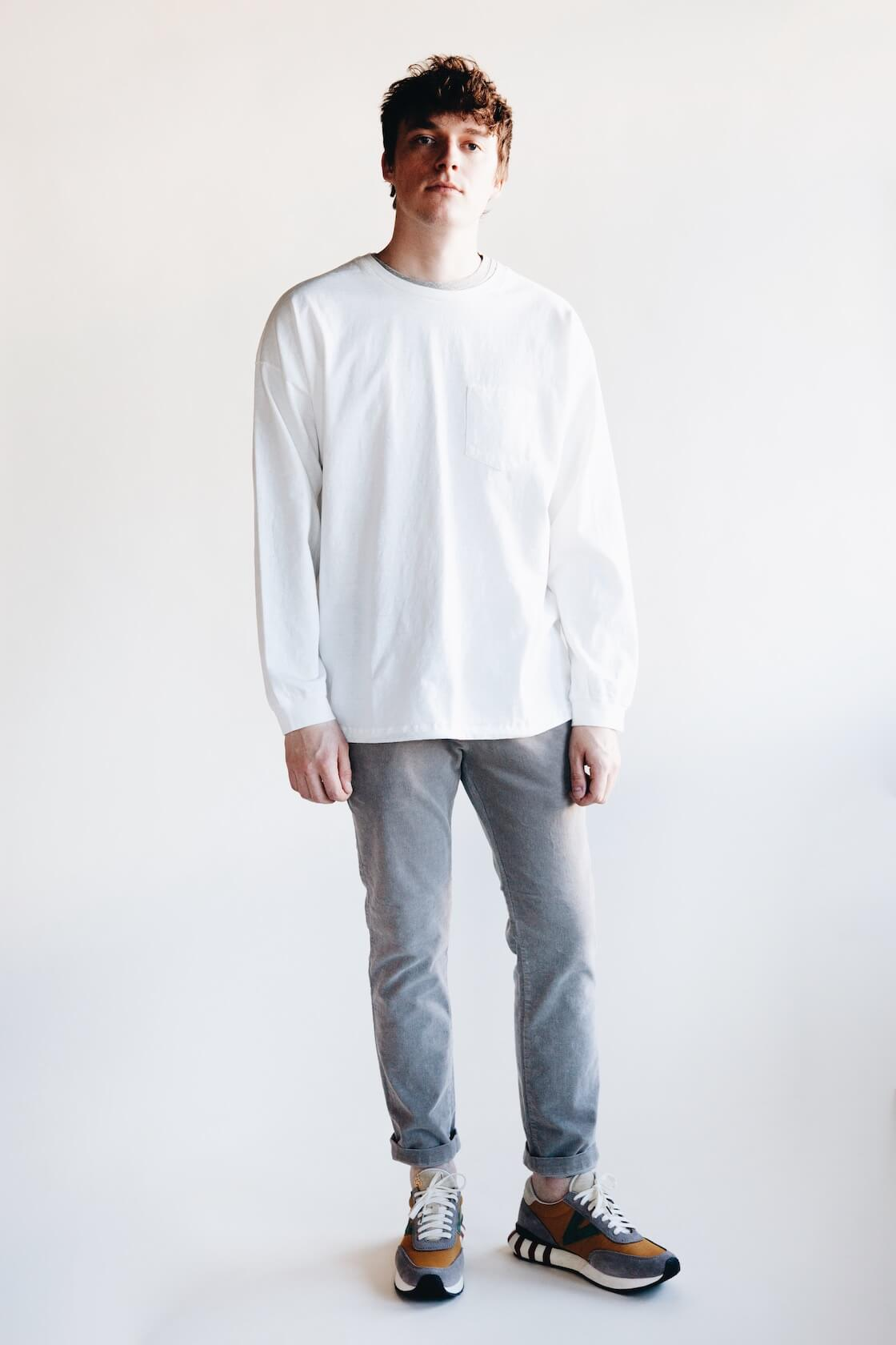 remi relief jersey double neck grunge tee, stretched corduroy slacks and visvim attica trainers on body