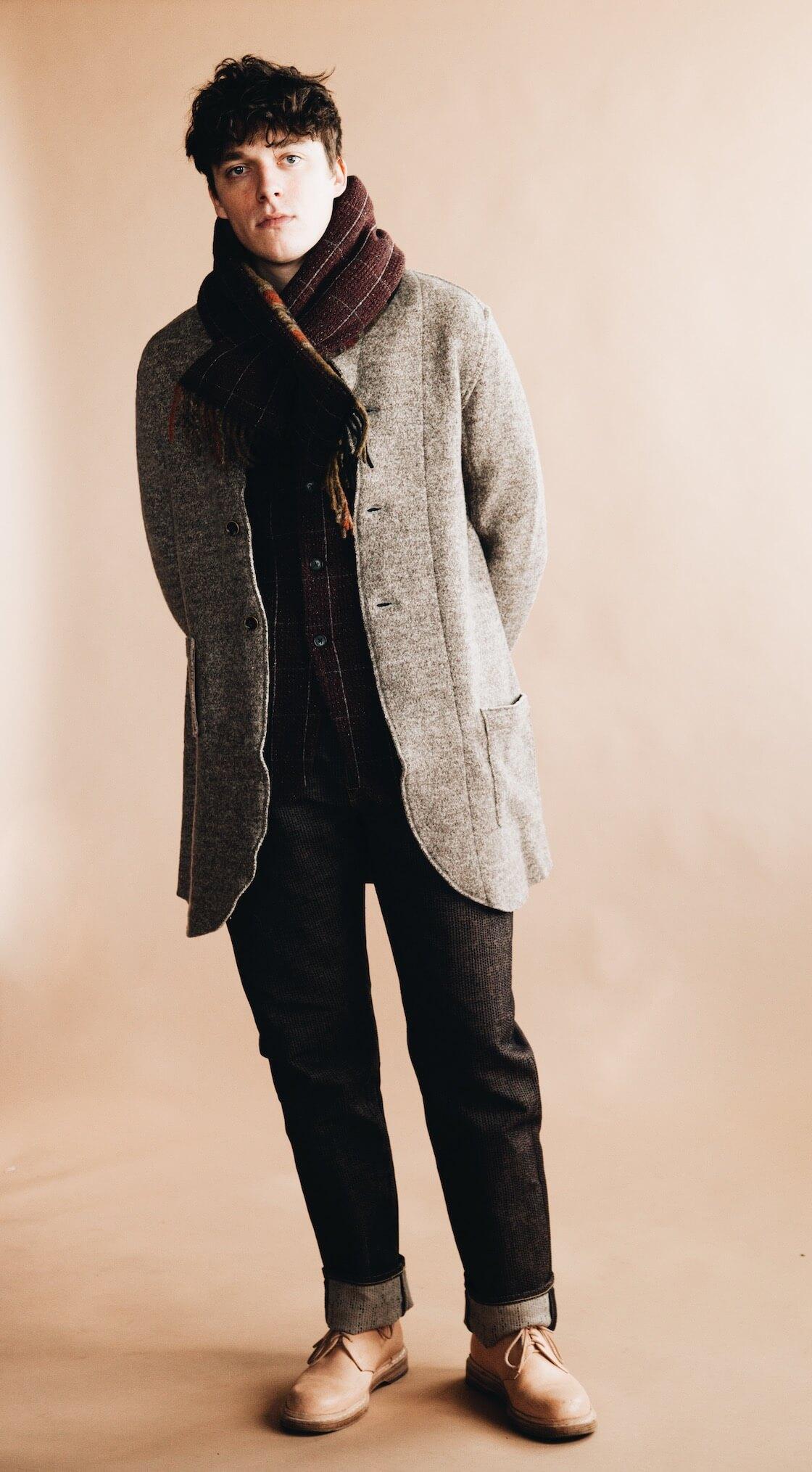 kapital tyrol wool nomad jacket, tweed fleecy knit kobe jacket, century denim pants, country wool scarf, and hender scheme mip 21 shoes on body