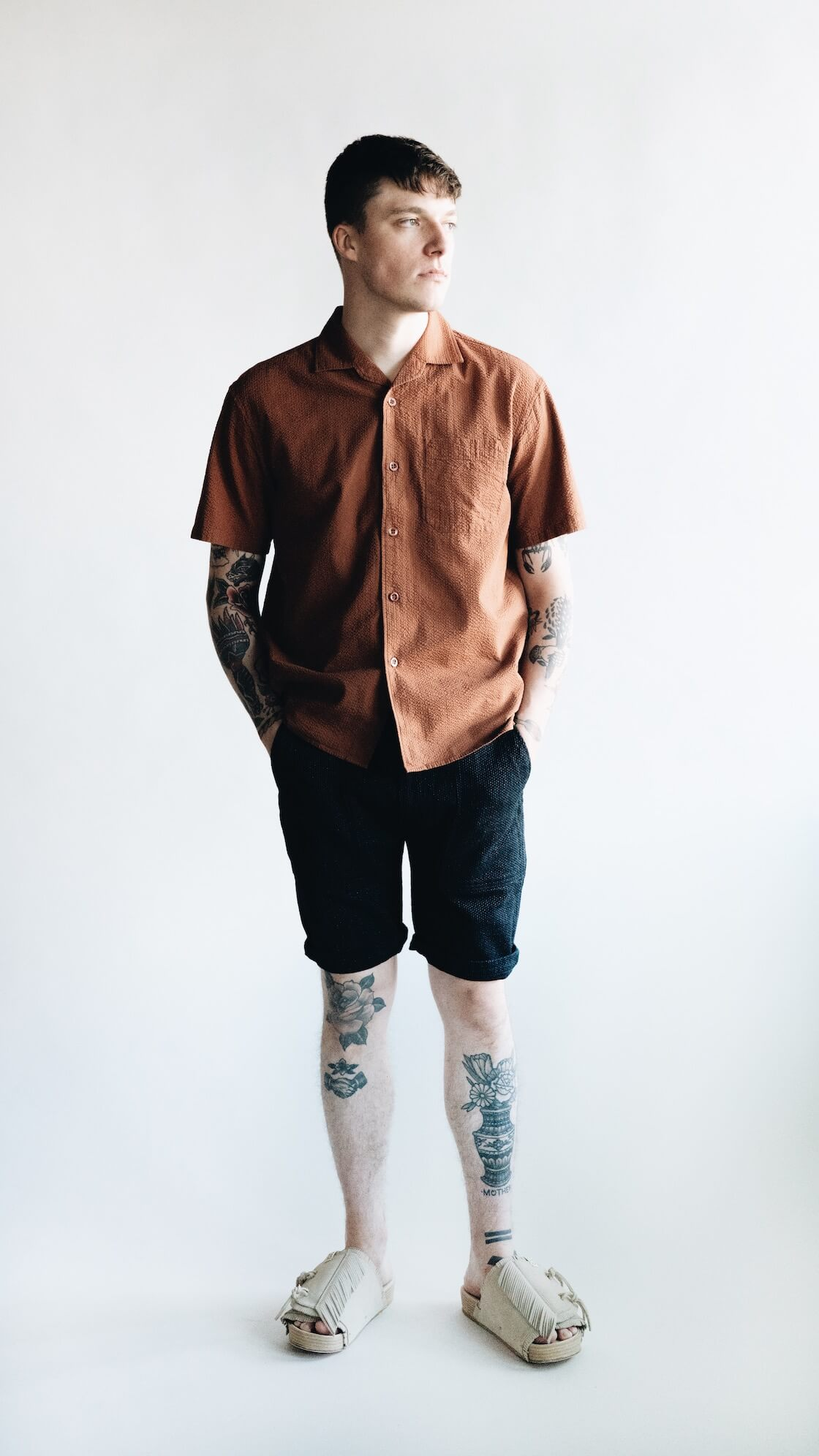 arpenteur pyjama shirt, pure blue japan selvedge sashiko shorts and visvim christo sandals on body