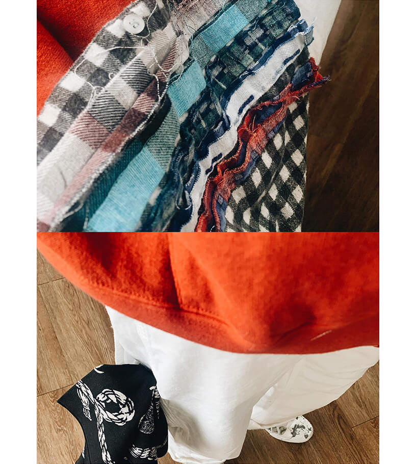 visvim amplus hoodie, kapital sneak anchor bandana, needles japan ribbon flannel, orslow painter pants and needles japan asymmetric ghillie sneakers on body