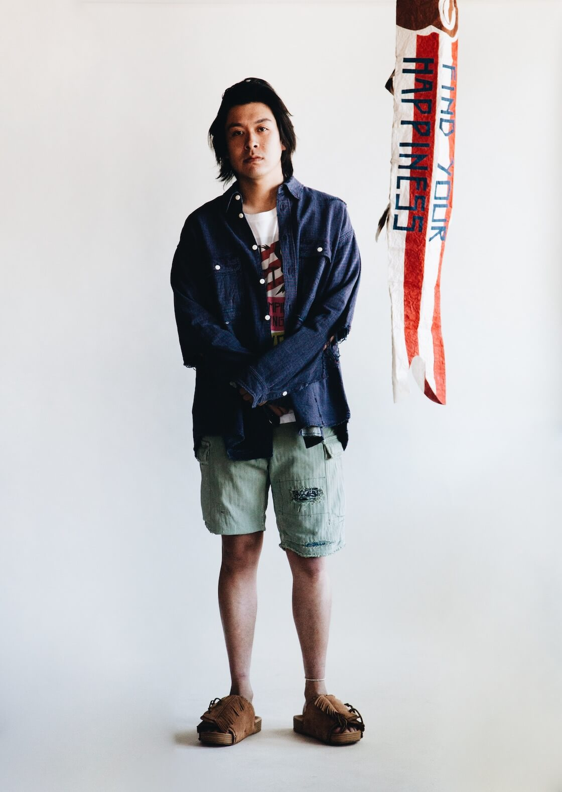 visvim indigo camping trading post find your happiness Ground River L/S Crash Shirt, Jumbo Tee, Jumbo Eiger Sanction Shorts and Christo Sandals on body