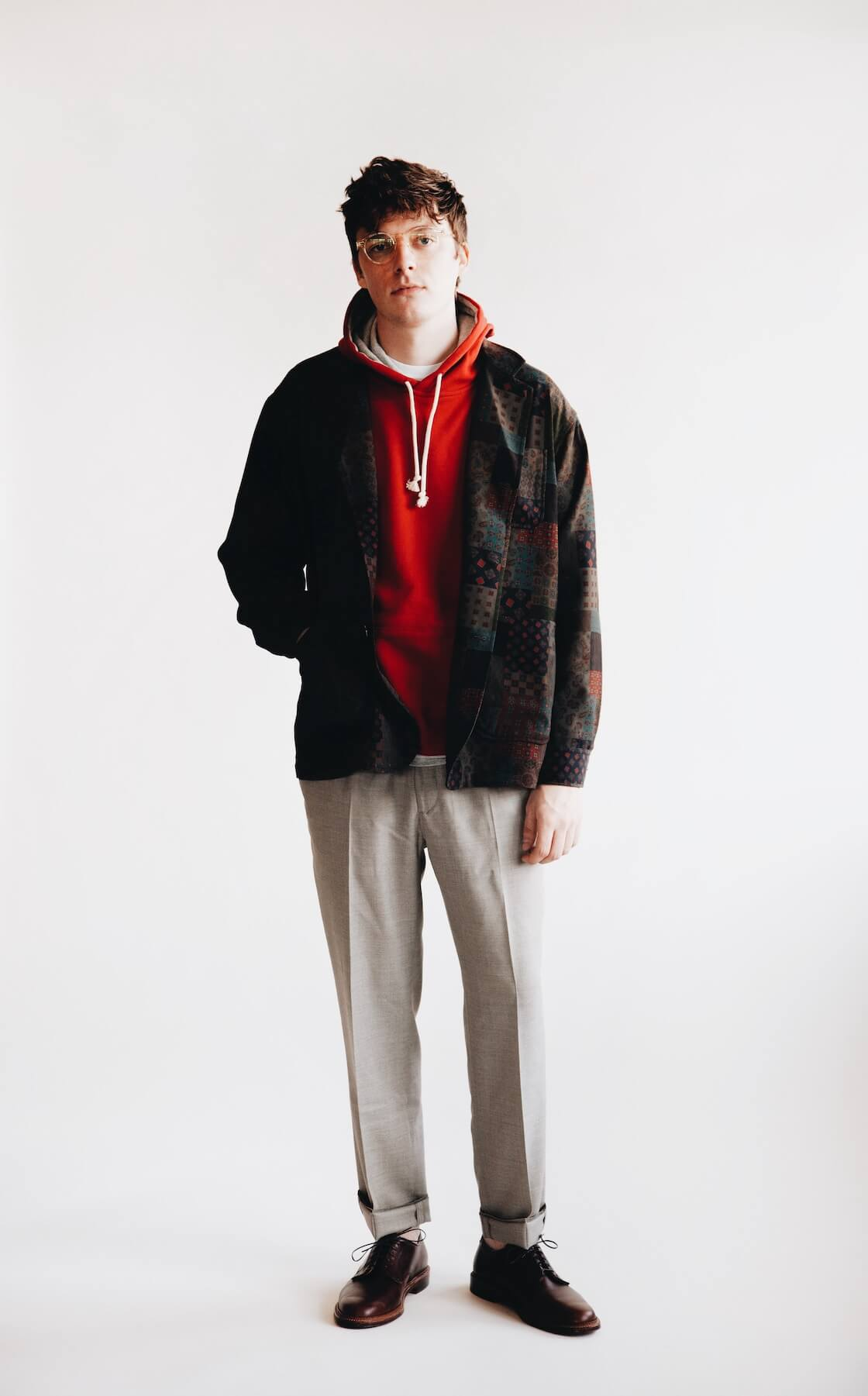 beams plus 4 button jacket, beams plus sweat pullover, harmony paris paolo trousers and alden bluchers on body
