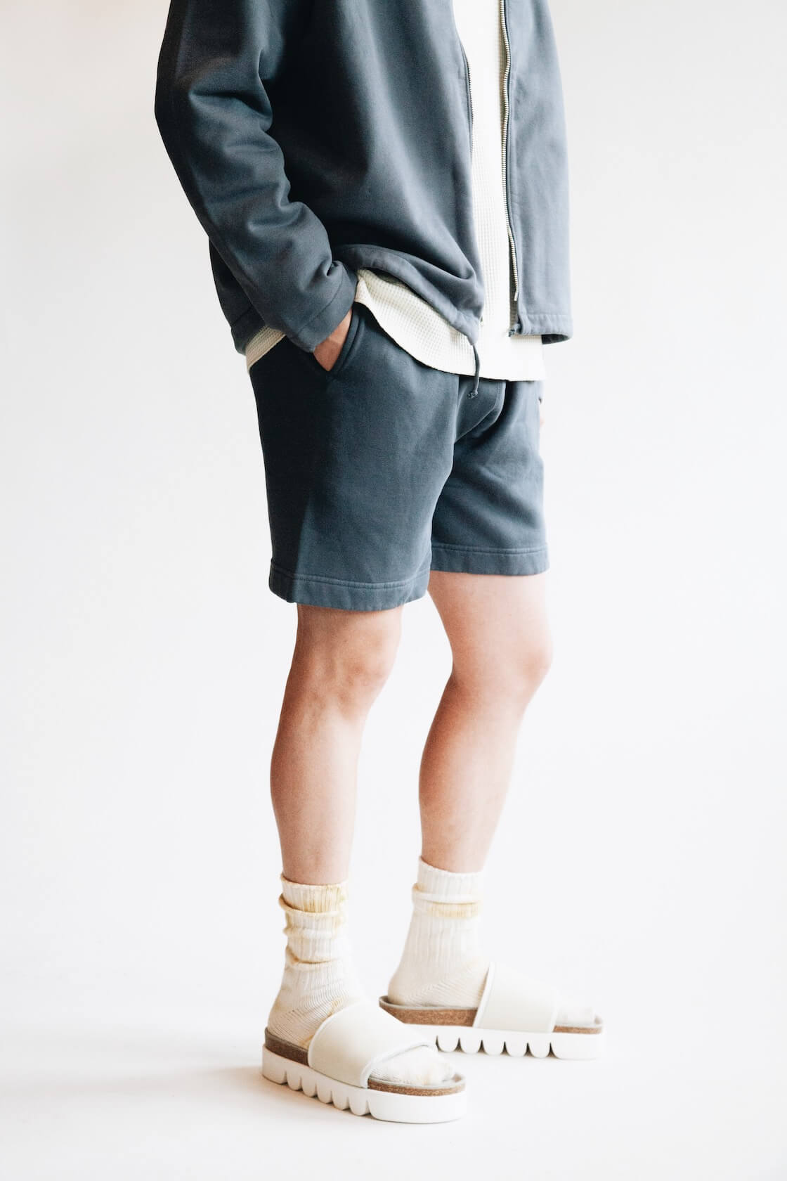 Zip Cardigan from Lady White Co., Cropped Raglan Thermal from Lady White Co., Sweat Shorts from Lady White Co. and Caterpillar sandals from Hender Scheme on body