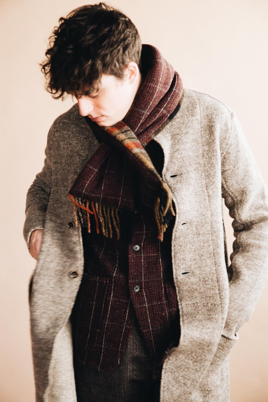 kapital tyrol wool nomad jacket, tweed fleecy knit kobe jacket, century denim pants, and country wool scarf on body