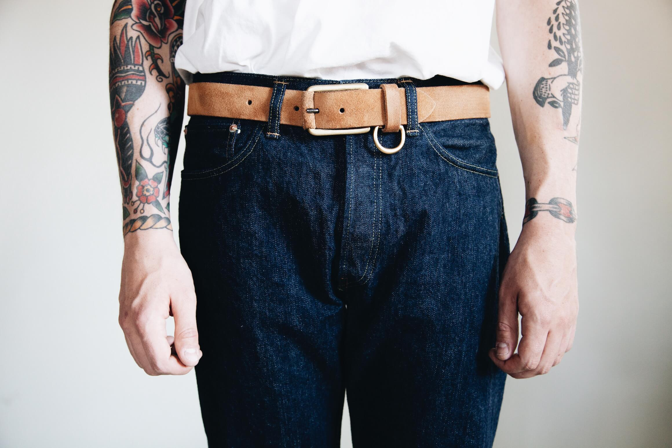 orSlow 105 Standard One Wash jeans with yuketen belt on body