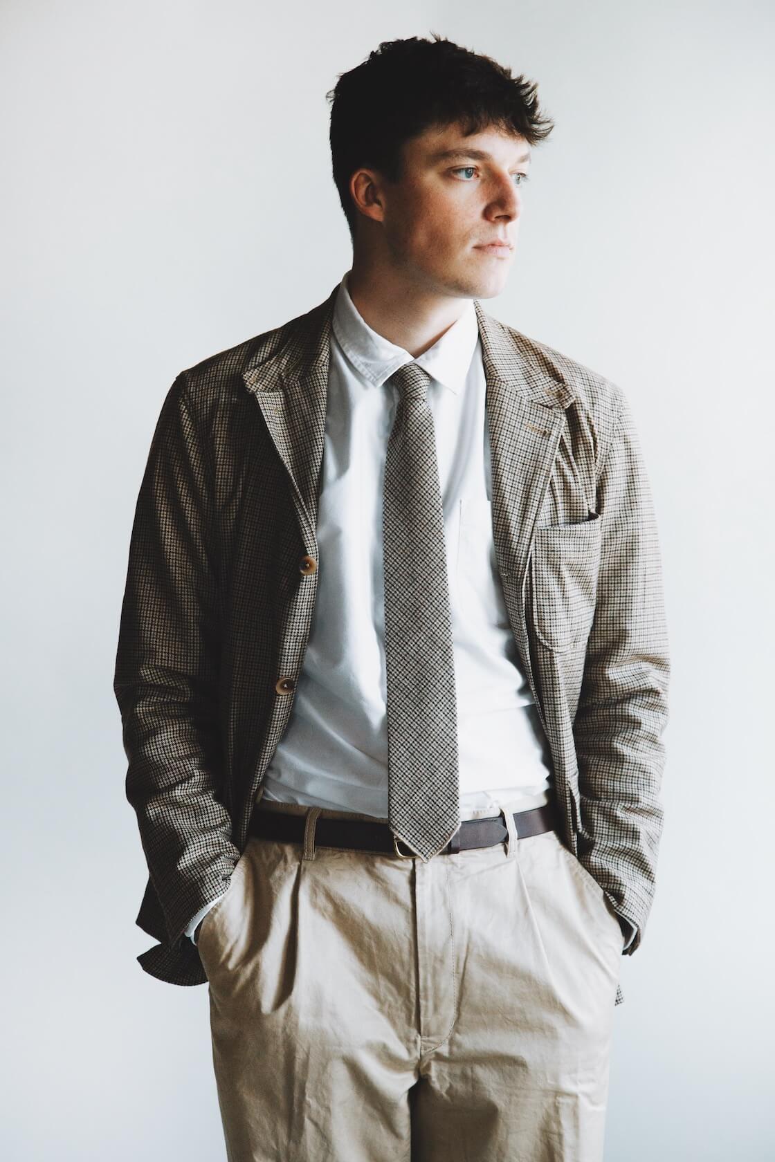 engineered garments loiter jacket and neck tie, corridor nyc canoe club oxford shirt, beams plus single pleat twill pants on body