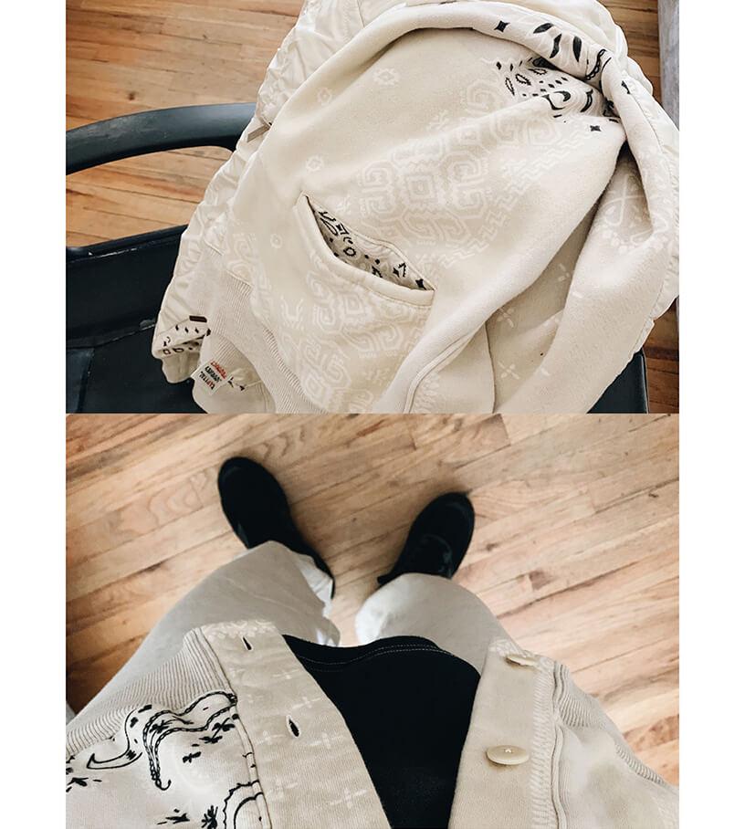 Kapital Fleecy Knit Bandana Bivouac cardigan, Velva sheen viper sweat pants, kapital kountry 2 tones big T bones tee and New balance and Engineered garments m990 shoes on body