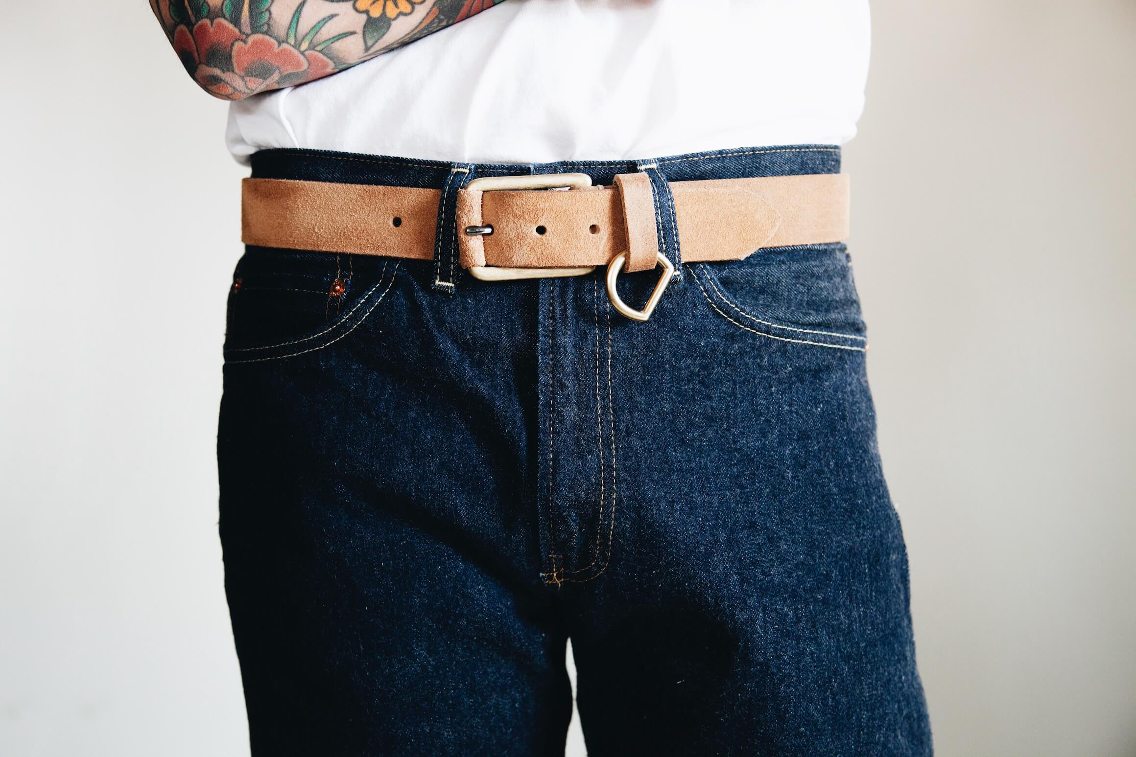 levi's vintage clothing LVC 1954 501 New Rinse jeans with yuketen belt on body
