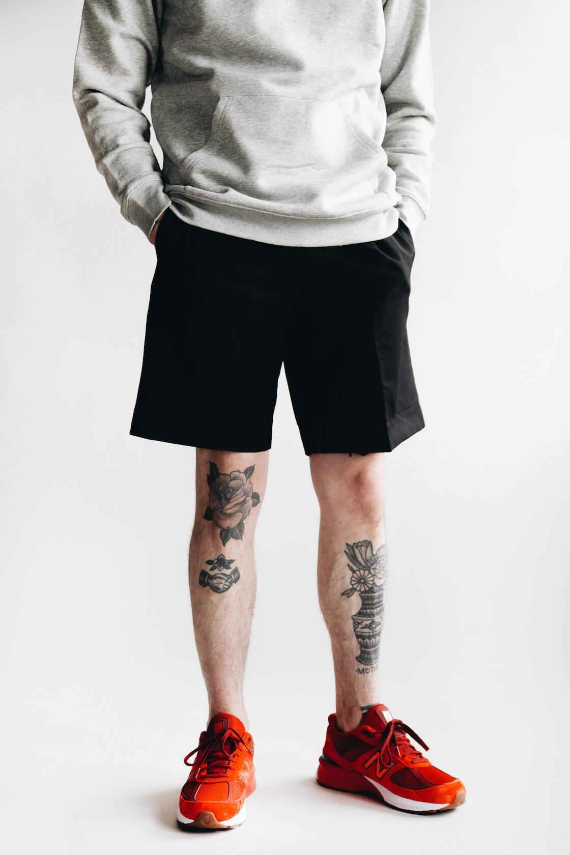 harmony paris sany velour sweatshirt, pavel trouser shorts and new balance m990 shoes on body