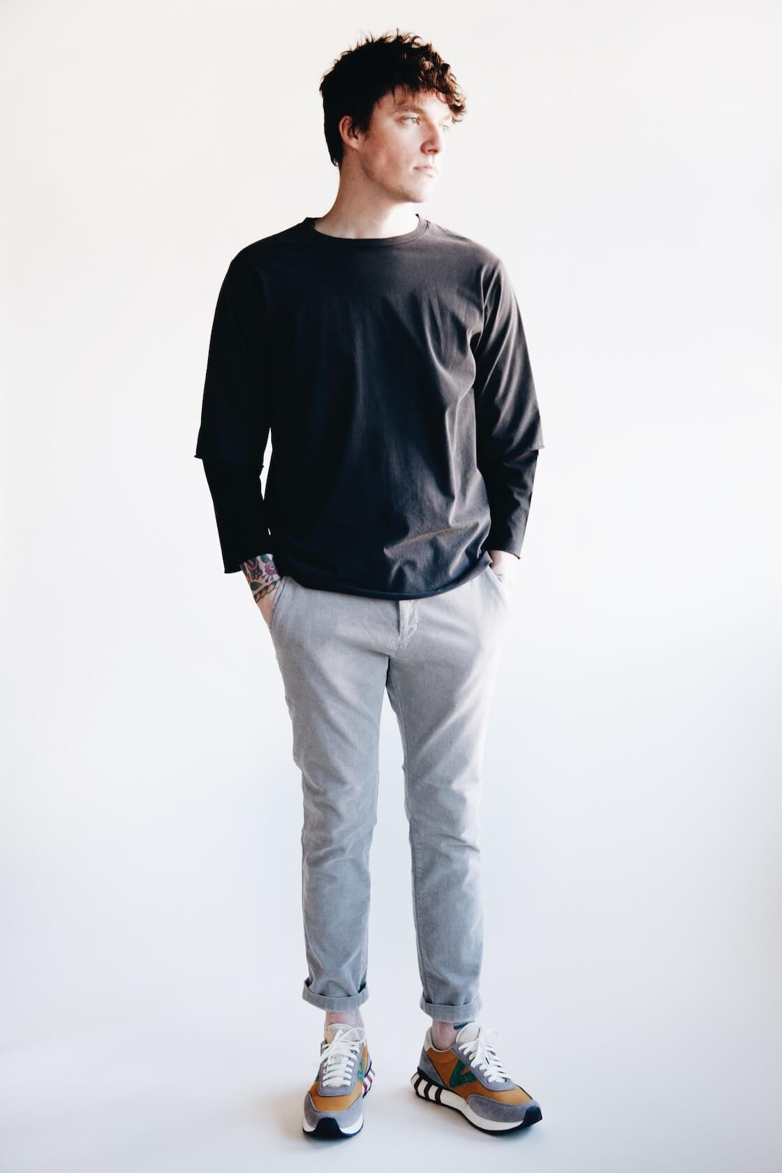 remi relief jersey grunge double neck long sleeve tee, stretched corduroy slacks and visvim attica trainer shoes on body