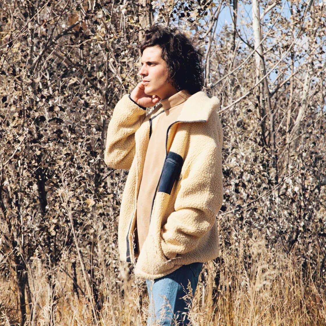 nanamica fleece jacket, nanamica turtle neck shirt, and orslow jeans on body