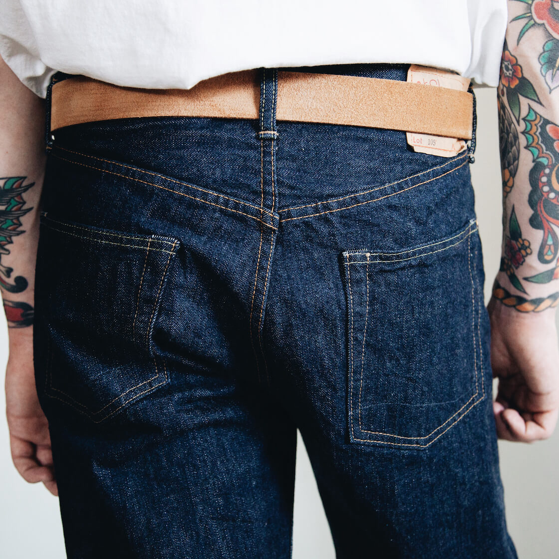 orSlow 105 Standard One Wash jeans back pocket detail on body