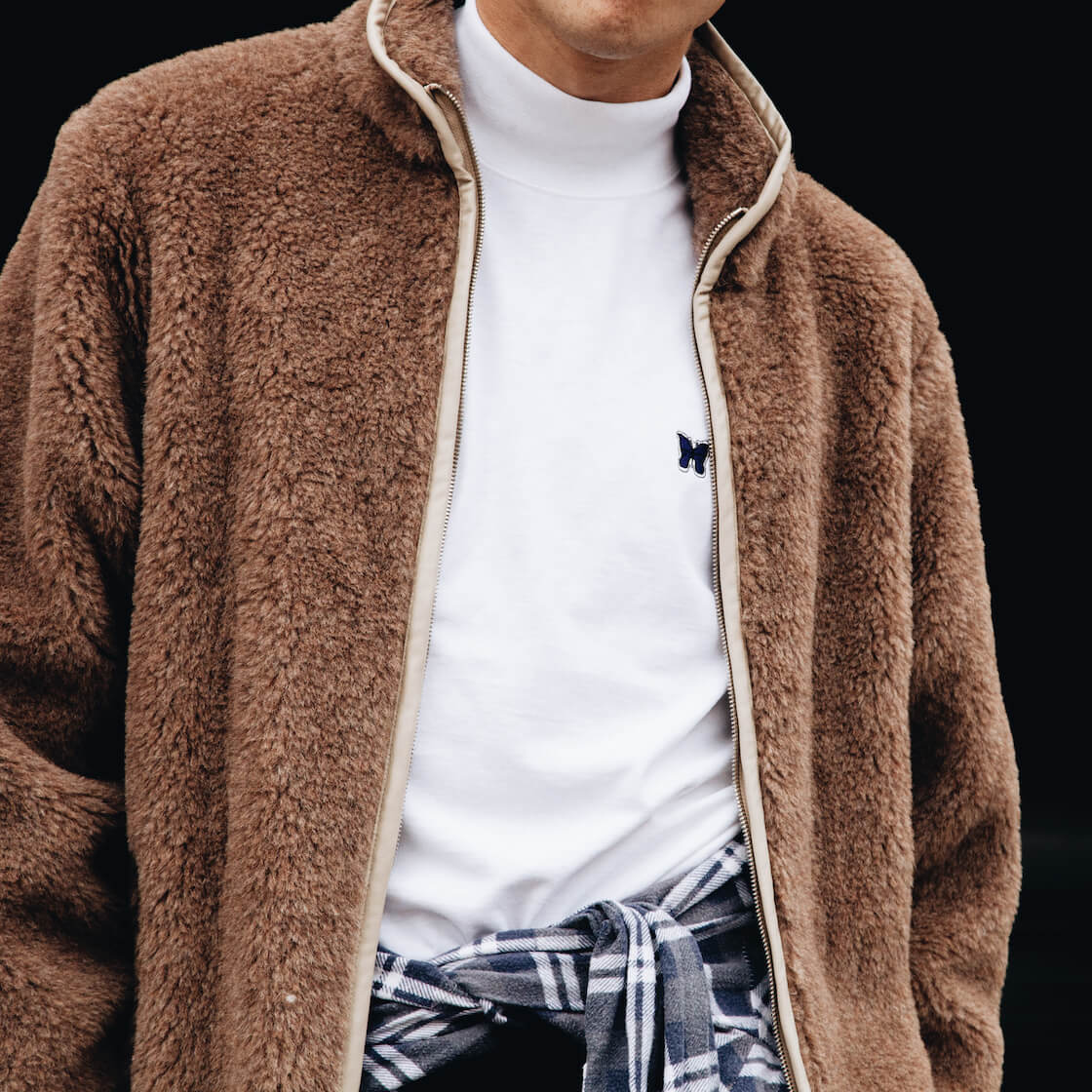 Needles clothing japan shaggy shearling jacket and mock neck tee on body