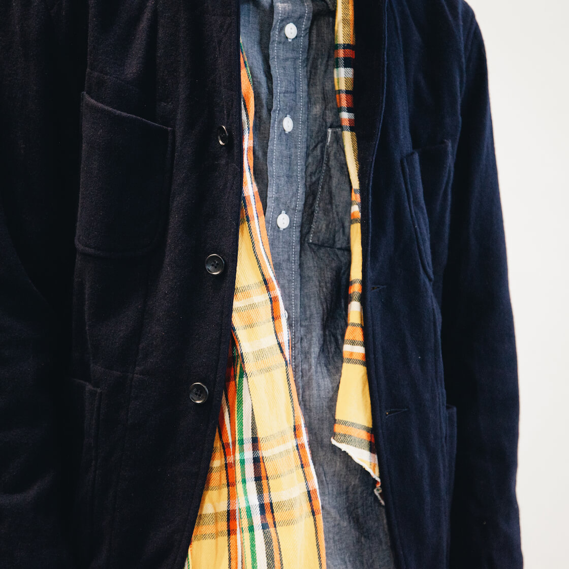 engineered garments new bedford jacket, long scarf, and work shirt on body