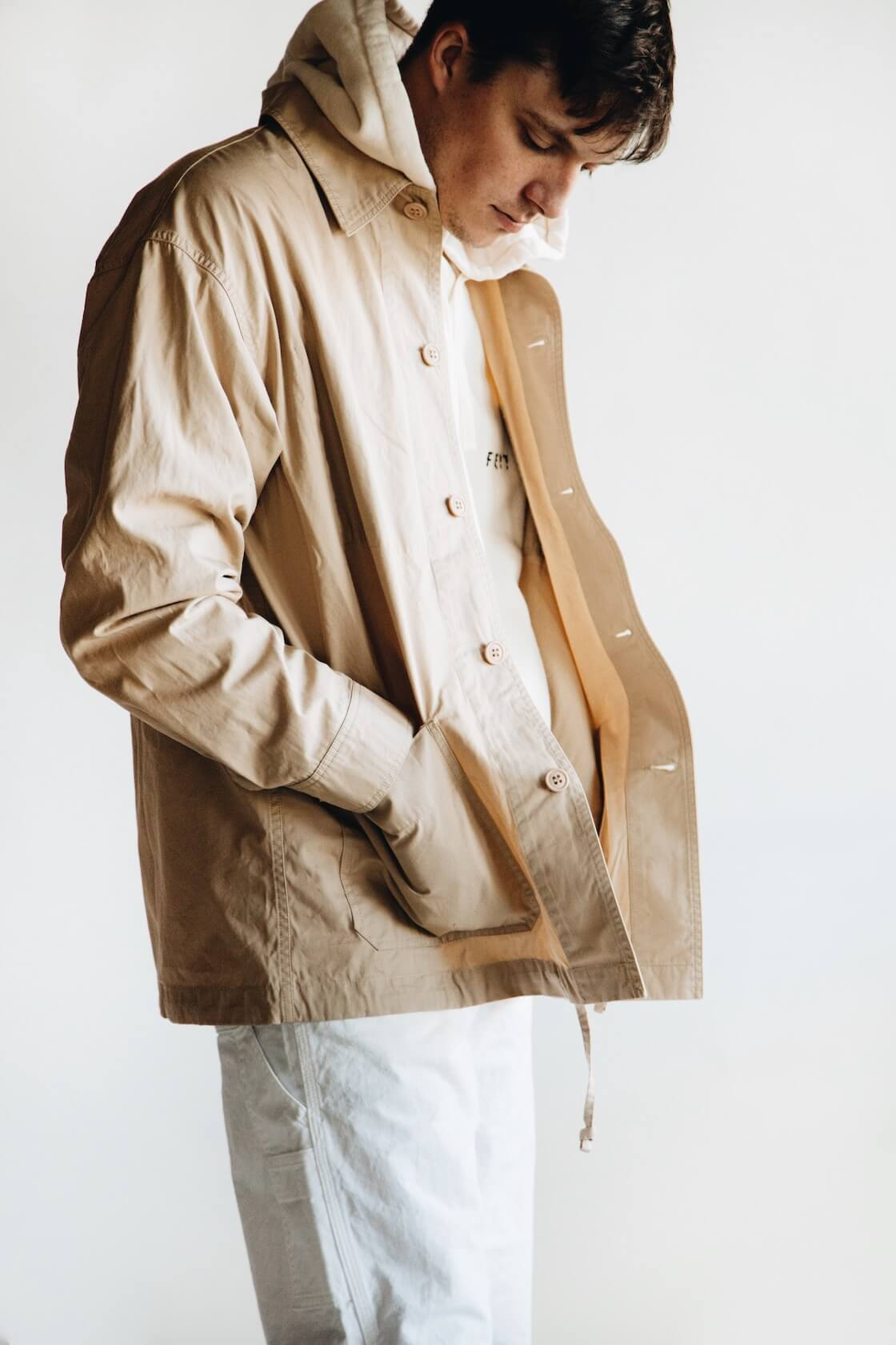 arpenteur corral jacket, feit tubular hooded sweatshirt, orslow painter pants on body