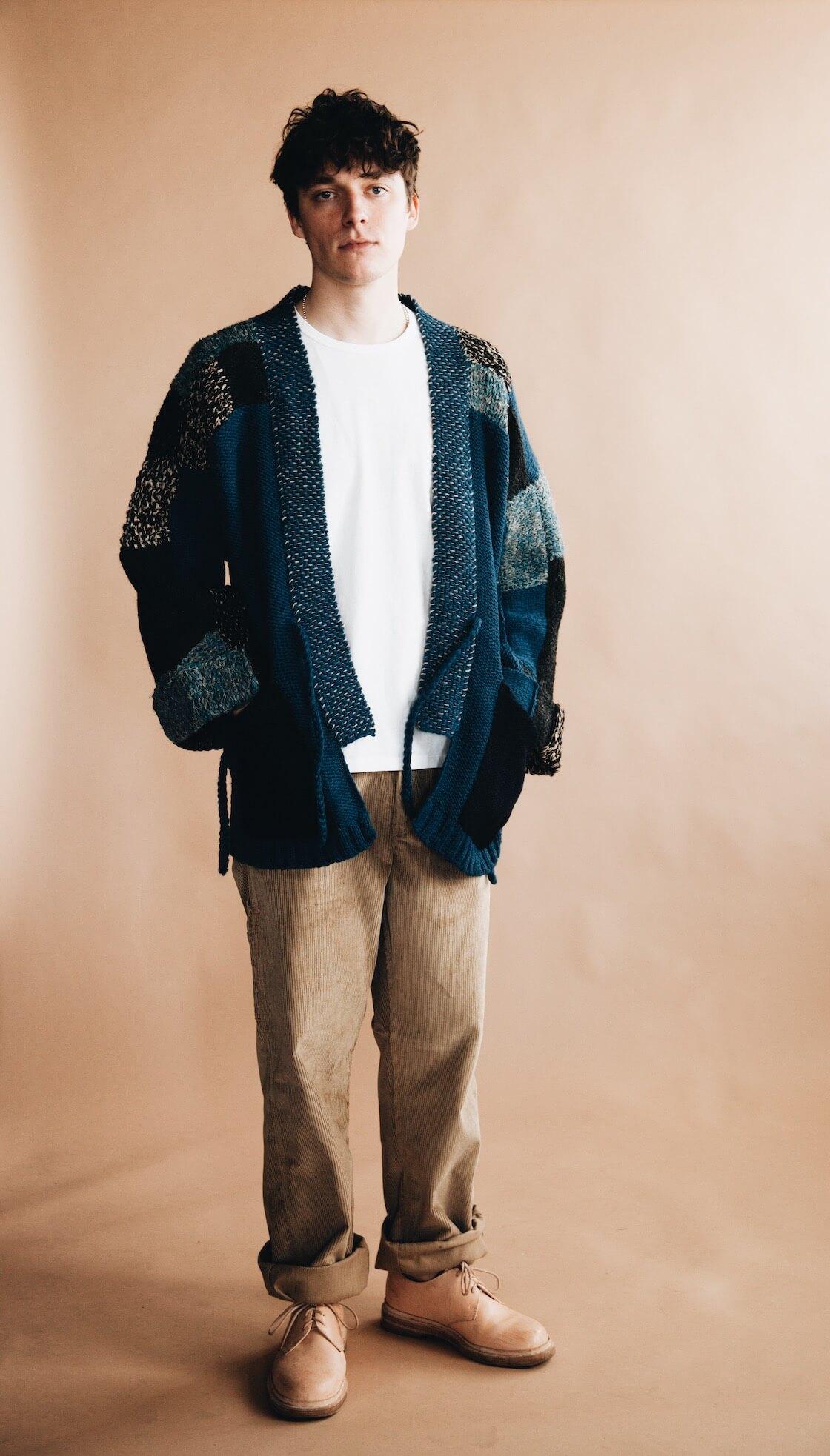 kapital hand knit tugihagi kakashi cardigan and hender scheme mip 21 shoes on body