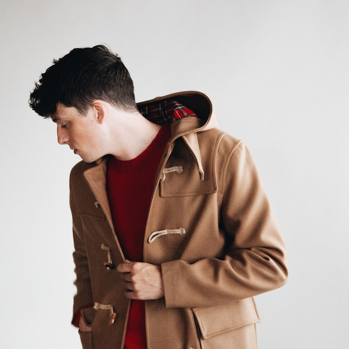 harmony paris marco duffel coat and kenny sweater on body 2
