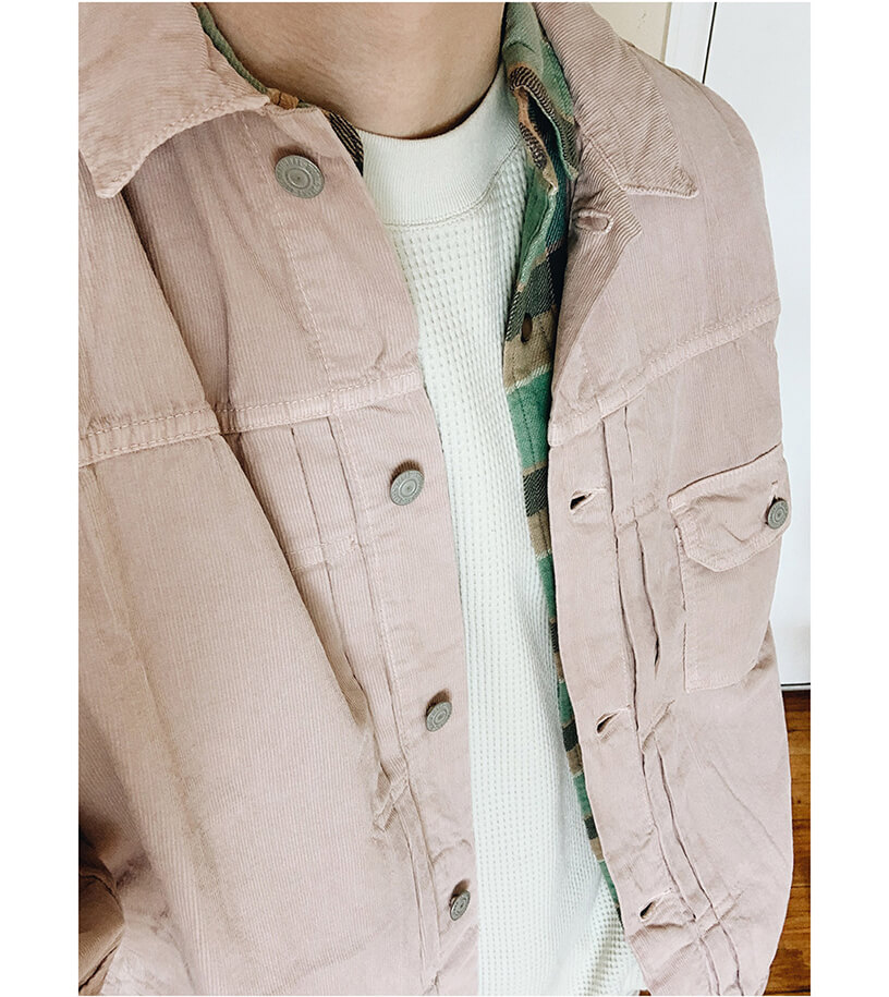remi relief light summer corduroy first jacket, RRL slim plain twill western shirt, lady white co raglan thermal shirt on body