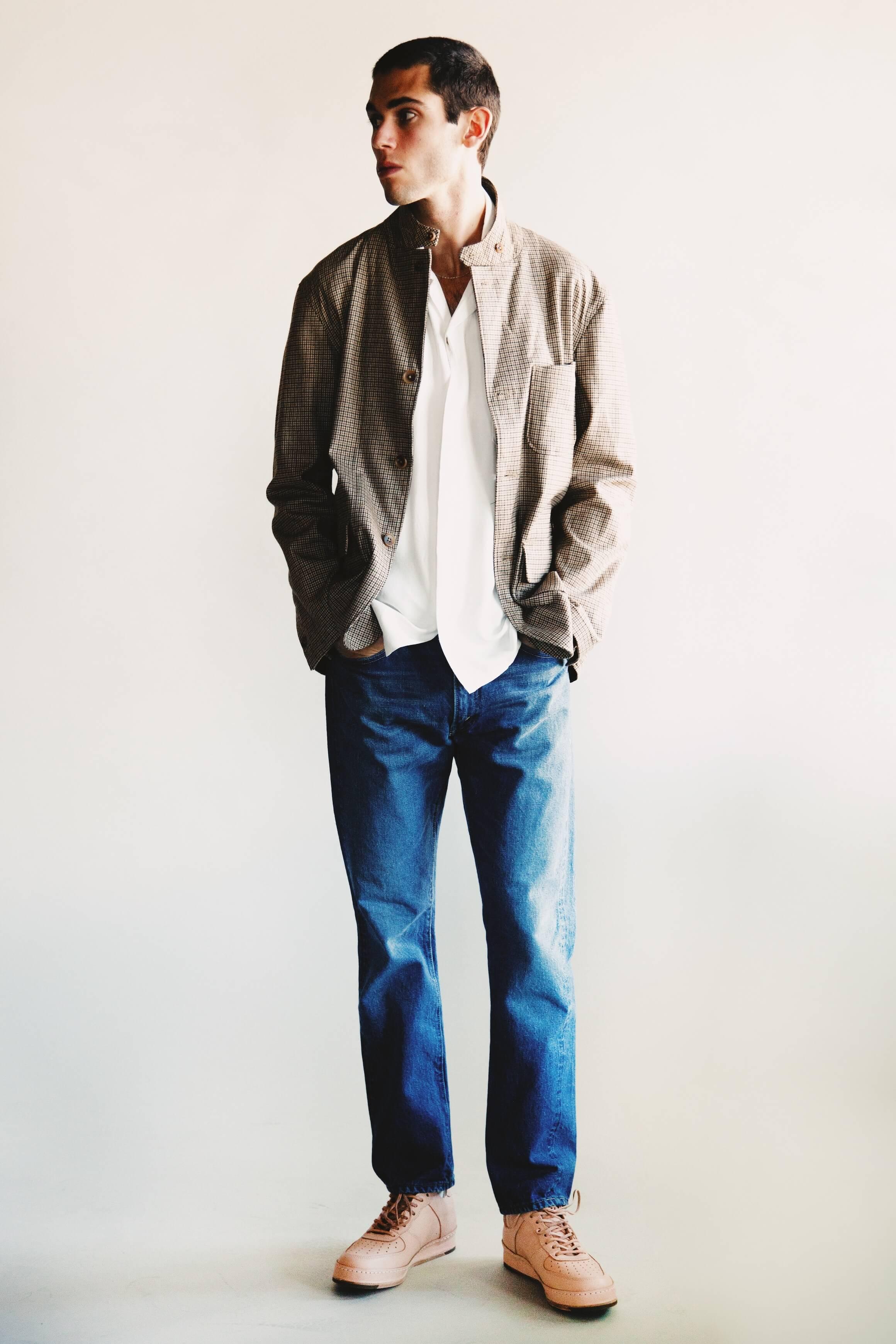 Engineered garments loiter jacket, visvim free edge shirt, orslow 105 standard denim and hender scheme MIP-22 shoes on body