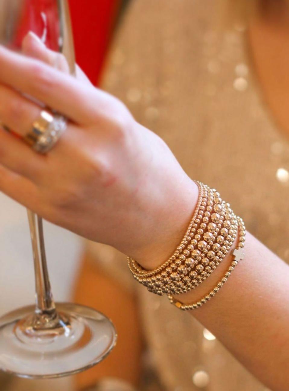 E Newton 14K gold filled beaded bracelets