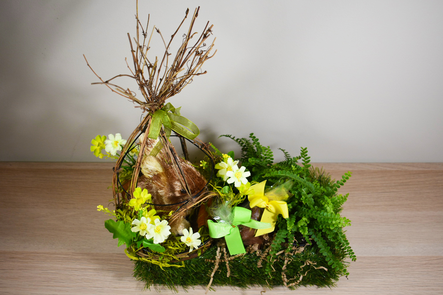 Stepping outside of the basket easter gift giving chalet nursery the traditional wicker easter basket fill your container with a blooming plant moss and a cute bunny this can be used as a centerpiece or a gift for negle Choice Image
