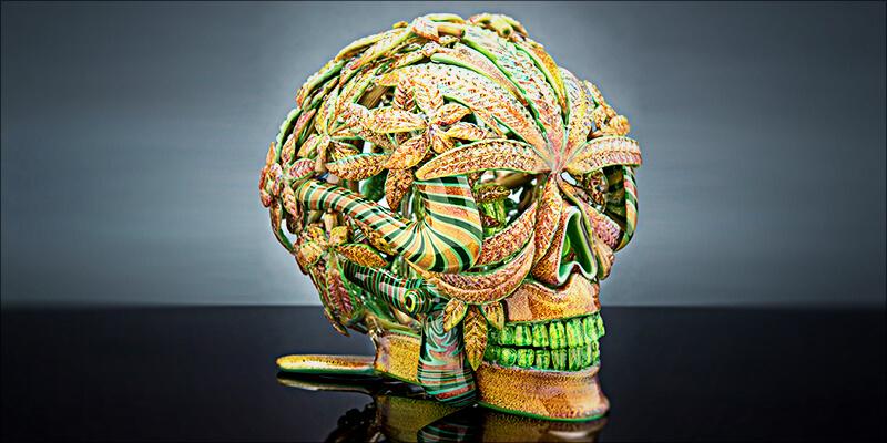 Gold Encrusted Skull Bong