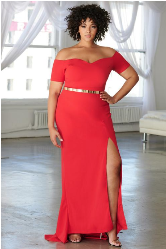 Red Bardot Thigh Split Maxi Dress