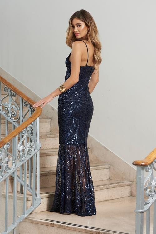 Navy Sequin Fishmail Maxi Dress